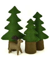 Papoose Felt Pine Trees - Set of 3