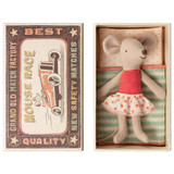 Maileg Little Sister Mouse in Box - Coral with Polka Dot Skirt