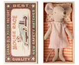 Maileg Big Sister Mouse in Box - Pink Stripe Dress