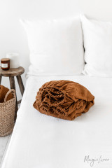 MagicLinen Queen Fitted Sheet - Cinnamon