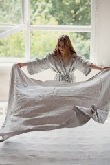 MagicLinen Queen Flat Sheet - Light Grey