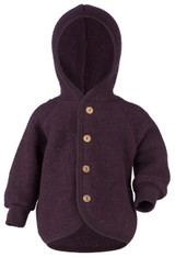 Engel Wool Fleece Hooded Jacket with Wooden Buttons - Purple