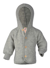 Engel Wool Fleece Hooded Jacket with Wooden Buttons - Grey