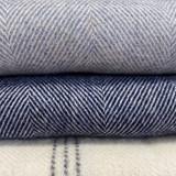 Merino Lambswool Supersoft Blanket - Smoke Herringbone