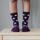 Lamington Crew Length Wool Socks Mulberry - Plum with White Dots