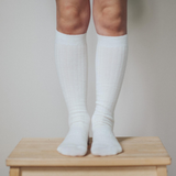 Lamington Knee High Length Wool Socks - Cream Rib