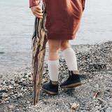 Lamington Knee High Length Wool Socks - Cream Rib