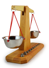 Wooden Scale with 10 Weights
