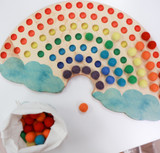 Rainbow Sorting Board with Wool Felt Balls