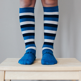 Lamington Knee High Length Wool Socks - Marine