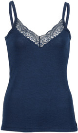 Engel Organic Merino Wool/Silk Women's Top with Lace - Marine
