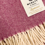 Merino Lambswool Supersoft Blanket - Beetroot Herringbone