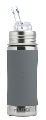 Pura Kiki Straw Bottle 11oz - Grey Sleeve