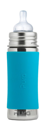 Pura Kiki Baby Bottle 11oz - Aqua Sleeve