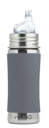 Pura Kiki Sippy Bottle 11oz - Grey Sleeve