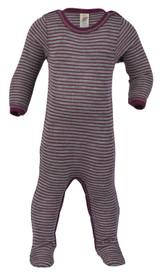 Engel Footed Sleep Overall With Leg Press-Studs Organic Merino Wool/Silk - Grey/Orchid