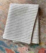 Fog Linen Tea Towel - Stanley (Natural with Black Stripes)