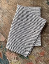 Fog Linen Tea Towel - White Seersucker (Navy and White Stripes)