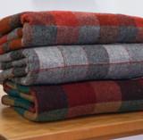 Pure Wool Blanket - Red & Grey Block