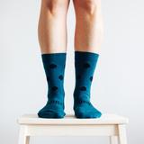 Lamington Crew Length Merino Wool Socks Woman - Lake