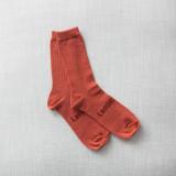 Lamington Crew Length Merino Wool Socks Woman - Brick
