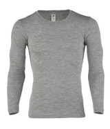 Engel Organic Merino Wool/Silk Men's Long Sleeve Shirt - Grey