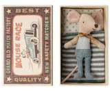 Maileg Little Brother Mouse in Matchbox - Ochre Bow Tie
