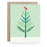 Christmas Bird & Tree - Greeting Card