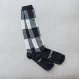 Lamington Knee High Length Wool Socks - Ash (Dark Grey and Natural Check)