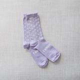 Lamington Crew Length Wool Socks Violet - (Violet with White Dots)