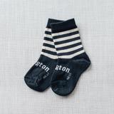 Lamington Crew Length Wool Socks Slate (slate with white stripes)