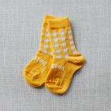 Lamington Crew Length Wool Socks Hattie (Yellow and White Checkered)