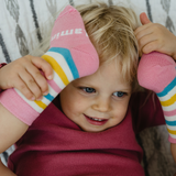 Lamington Crew Length Wool Socks - Picnic (Pink, Yellow, Blue, White Stripes)