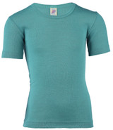 Engel Organic Merino Wool/Silk Kids Shirt Short Sleeve - Ice Bird
