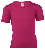 Engel Organic Merino Wool/Silk Kids Shirt Short Sleeve - Raspberry