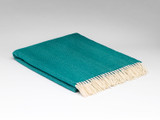 Merino Lambswool Supersoft Blanket - Tropical Green Herringbone