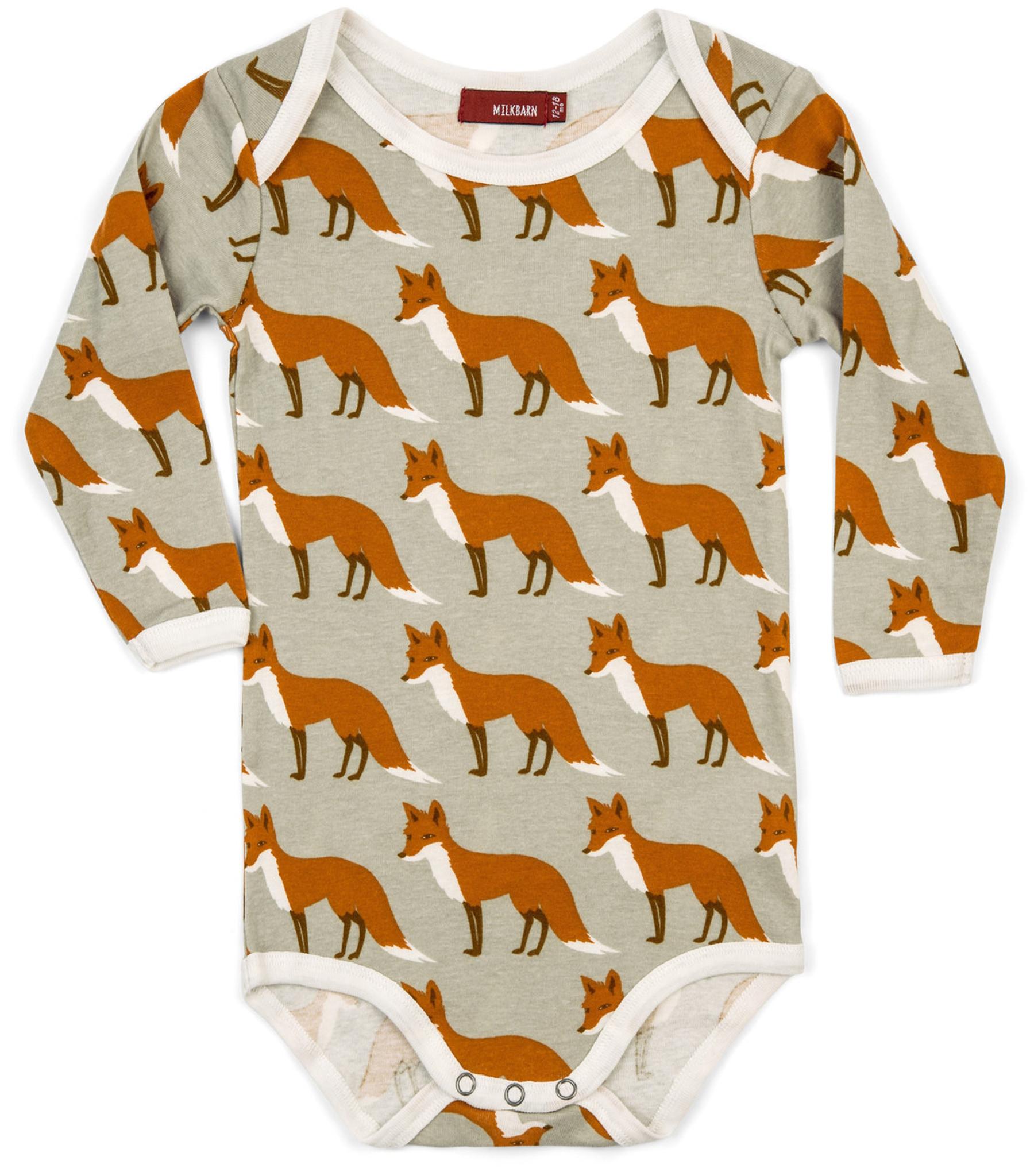 Milkbarn Long Sleeved Organic Cotton Onesie Orange Fox Milkbarn
