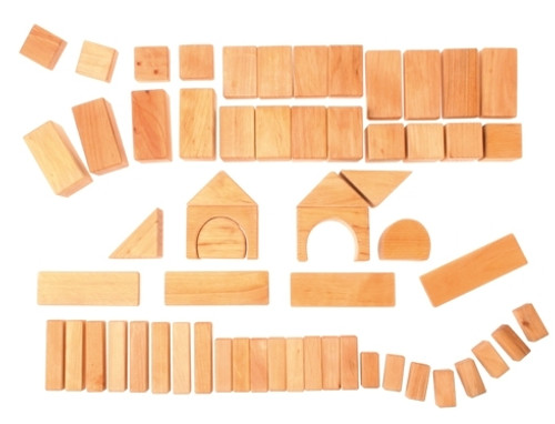 Grimm's 60 Wooden Geo Blocks - Natural