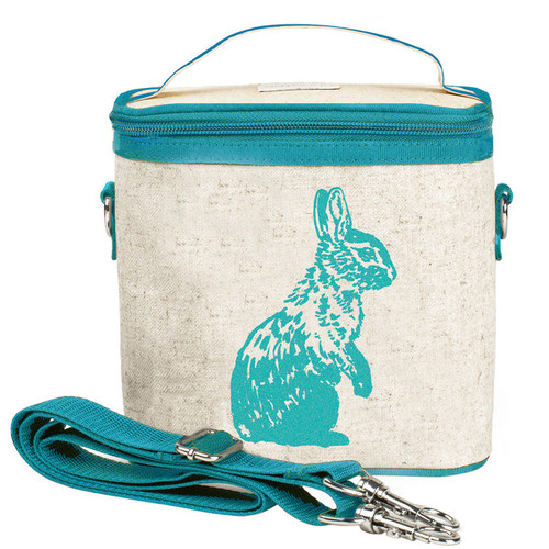 So Young Raw Linen Cooler Bag - Aqua Bunny