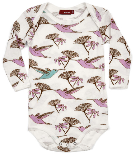 Milkbarn Organic Cotton Long Sleeve Onesie - Hummingbird
