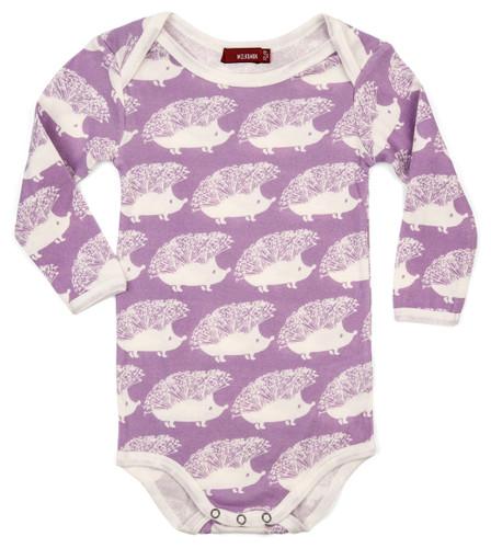 Milkbarn Organic Cotton Long Sleeve Onesie - Lavender Hedgehog