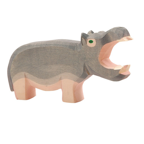 Ostheimer Wooden Hippopotamus w/ open mouth