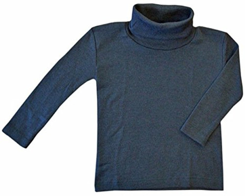 Engel Organic Merino Wool/Silk Kids Turtle Neck Shirt - Ocean Blue