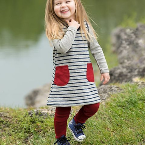 Engel Baby Dress Organic Merino Wool - Grey/Marine Stripes