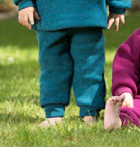 Engel Wool Fleece Baby Pants - Teal  Melange