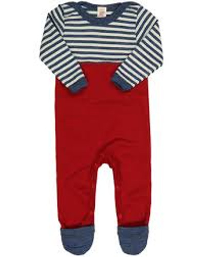 Engel Baby Merino Wool Playsuit  - Blue Stripes/Red