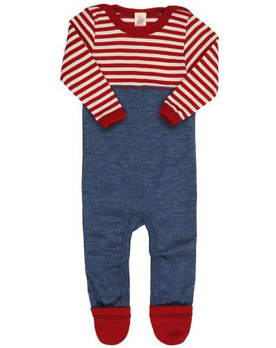 Engel Baby Merino Wool Playsuit  - Red Stripes/Blue