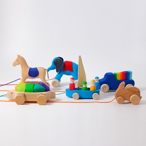 Grimm's Pull Along Natural Turtle with Building Blocks