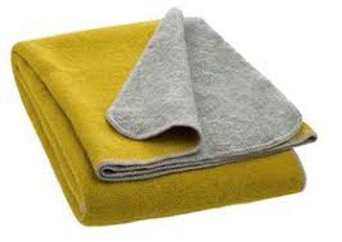 Disana large boiled wool double-sided blanket grey/curry