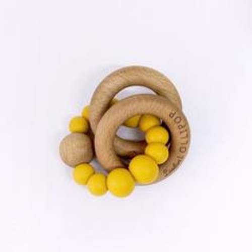 Teether by Loulou Lollipop - Wood and Silicone - Golden Mustard